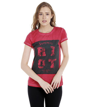 Printed Round Neck T-Shirt,  red, xl