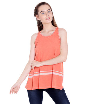 Solid V-Neck T-Shirt,  orange, m