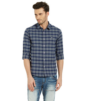Checks Shirt In Slim Fit,  navy, s