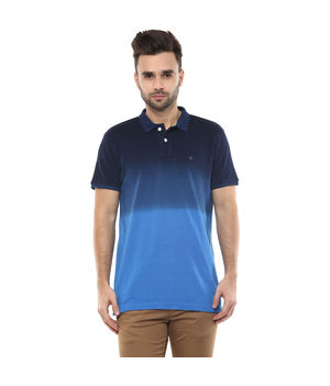 Printed Polo T-Shirt, m,  navy blue