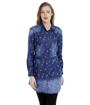 Printed Collar Shirt,  dark blue, s