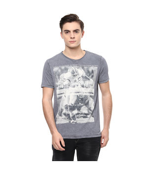 Printed V Neck T-Shirt, s,  cement