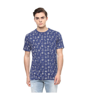 Printed Round Neck T-Shirt, s,  blue