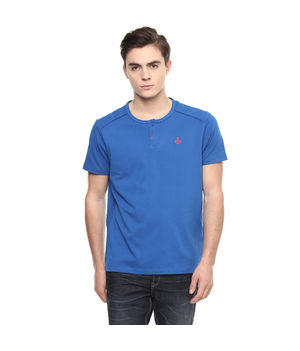 Solid Stand Collar Neck T-Shirt, m,  royal blue