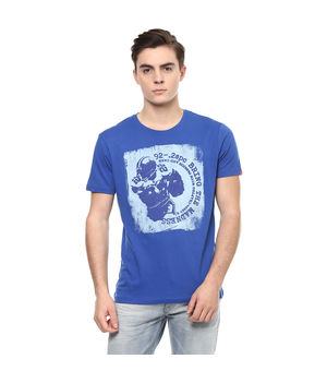 Graphic Round Neck Print T-Shirt, l,  royal blue
