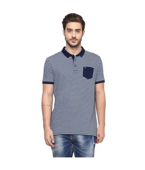 Striped Polo Slim Fit T-Shirt, s,  navy white