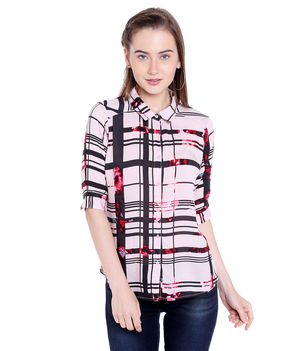 Printed Collar Shirt,  black/white, xl