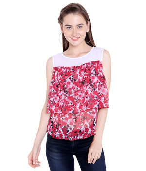 Printed Round Neck Top,  red, xl