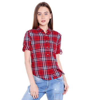 Checks Collar Shirt,  red, s