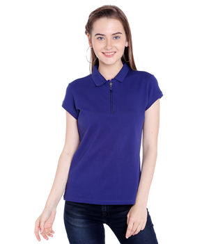 Solid Polo Collar T-Shirt,  navy, s