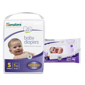 Himalaya Baby Diapers S-9 And Himalaya Soothing Baby Wipes 24'S
