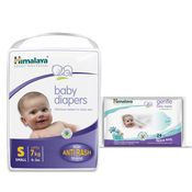 Himalaya Baby Diapers S-28 And Himalaya Gentle Baby Wipes 24'S