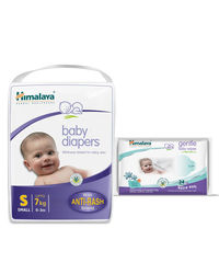 Himalaya Baby Diapers S-54 And Himalaya Gentle Baby Wipes 24'S