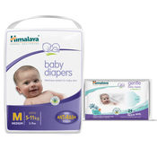 Himalaya Baby Diapers M-54 And Himalaya Gentle Baby Wipes 24'S