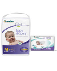 Himalaya Baby Diapers M-28 And Himalaya Gentle Baby Wipes 24'S