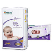 Himalaya Baby Diapers L-54 And Himalaya Soothing Baby Wipes 24'S