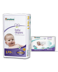 Himalaya Baby Diapers L-28 And Himalaya Gentle Baby Wipes 24'S