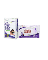 Himalaya Total Care Baby Diaper Pants-M 9 And Himalaya Soothing Baby Wipes 24'S