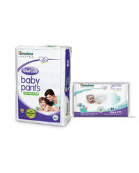 Himalaya Total Care Baby Diaper Pants-M 2 And Himalaya Gentle Baby Wipes 24'S
