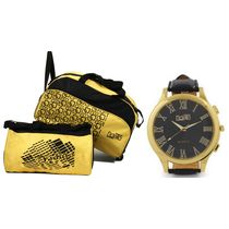 Fidato 2 Wheel Duffle And Gym Bag Combo With Fidato Mens Black Analog Watch (FD-224), multicolor