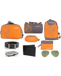 Craftwelle Nylon And Polyester Travel Bag And Accessories Combo (CWTBAC02), orange and grey