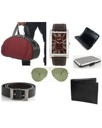 Fidato Mens Accessories Combo - Set Of 6 (FD-239), red and grey