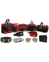 Craftwelle Nylon And Polyester Travel Bag And Free Accessories Combo (Set of 11) (CWTBAC01), red and black
