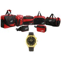 Fidato Travel Combo With Free Watch (FD-251), red and black