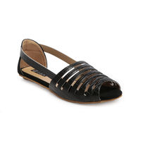 TEN Black Synthetic Leather Sandal, 41