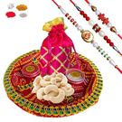 Maalpani Expensive Rakhi Hamper With Delicious Dry Fruits And Thali Sh301-305