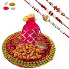 Maalpani Expensive Rakhi Hamper With Delicious Dry Fruits And Thali Sh308-305