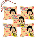 meSleep Bak Bak Behan Rakhi Hampers Cushion Cover- Set Of 5 With Beautiful Rakhis