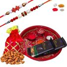 Maalpani Expensive Hamper Of Thali Chocolate And Dry Fruit With 02 Rakhi Set Sh212-207