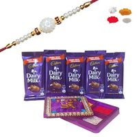 Maalpani Exclusive Gift Box Hamper Fashionable Pearl Rakhi And Fancy Kankavati With Delicious Chocolate-70