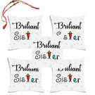 meSleep Briliant Sister Rakhi Hampers Cushion Cover- Set Of 5 With Beautiful Rakhis