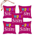 meSleep Super Sister Rakhi Hampers Cushion Cover- Set Of 5 With Beautiful Rakhis