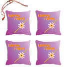 meSleep Happy Rakhi Rakhi Hampers Cushion Cover- Set Of 4 With Beautiful Rakhis