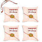 meSleep Beige Happy Rakhi Hampers Cushion Cover- Set Of 4 With Beautiful Rakhis