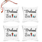 meSleep Briliant Sister Rakhi Hampers Cushion Cover- Set Of 4 With Beautiful Rakhis