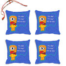 meSleep Blue Quotes Rakhi Hampers Cushion Cover- Set Of 4 With Beautiful Rakhis