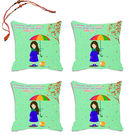 meSleep Lovely Sister Rakhi Hampers Cushion Cover- Set Of 4 With Beautiful Rakhis