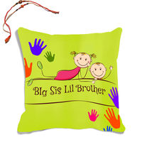 meSleep Big Sister And Little Bro Rakhi Hampers Cushion Cover With Beautiful Rakhis