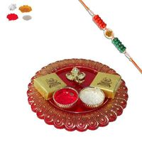Maalpani Trendy Gift Box Hamper Auspicious Ganesh Thali And Mauli Om Rakhi With Delicious Sweet-141.