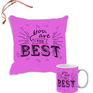 meSleep Bro & Sister Quotes Rakhi Hampers Cushion Cover And Mug Combo With Beautiful Rakhis