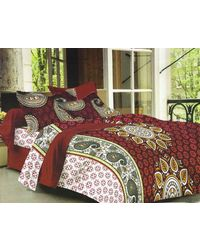 Valtellina Cotton King Size 1 Double Bedsheet With 2 Pillow Covers (TR_ LV-018), multicolor