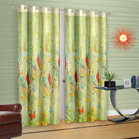 Cortina Green Leaf Theme Child Curtain-Set Of 2 (DG-S-7FT-SO2), light green