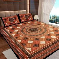 Ahmedabad Cotton Jaipuri Collection Cotton Double Bedsheet With 2 Pillow Covers (ACB20D00116)