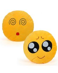 Cortina Cortina Smiley Cushion Set Of 2 (SC-SO2-020),  yellow