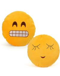 Cortina Cortina Smiley Cushion Set Of 2 (SC-SO2-012),  yellow