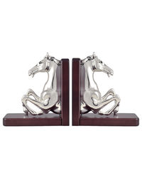 Shaze Wood And Silver Couple Horse Bookend,  silver